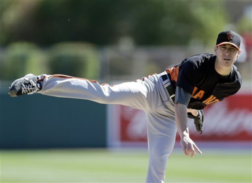 San Francisco Giants starting pitcher Tim Lincecum throws against the Los Angeles Dodgers during the second inning of an exhibition spring training baseball game on Tuesday, Feb. 26, 2013 in Glendale. Ariz. (AP Photo/Marcio Jose Sanchez)