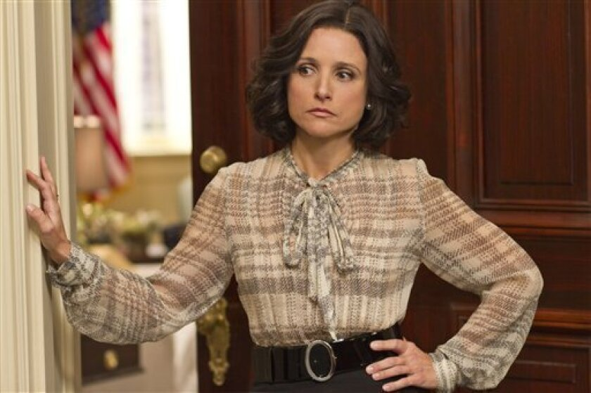 "This undated image released by HBO shows Julia Louis-Dreyfus portraying Vice President Selina Meyer in a scene from ""Veep."""