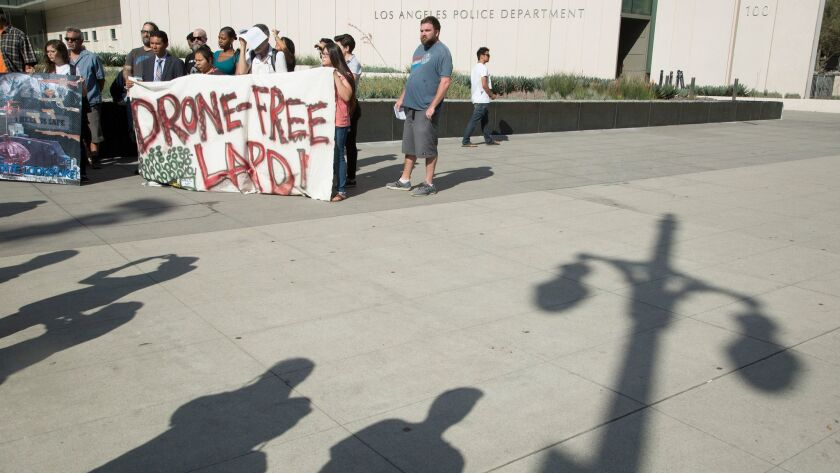 LOS ANGELES, CA - AUGUST 08, 2017: Protestors show their opposition to the LAPD getting drones. They