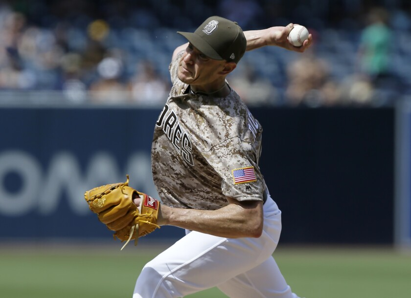 San Diego Padres starting pitcher Garrett Richards throws to an Arizona Diamondbacks batter during the first inning of a baseball game in San Diego, Sunday, Sept. 22, 2019.