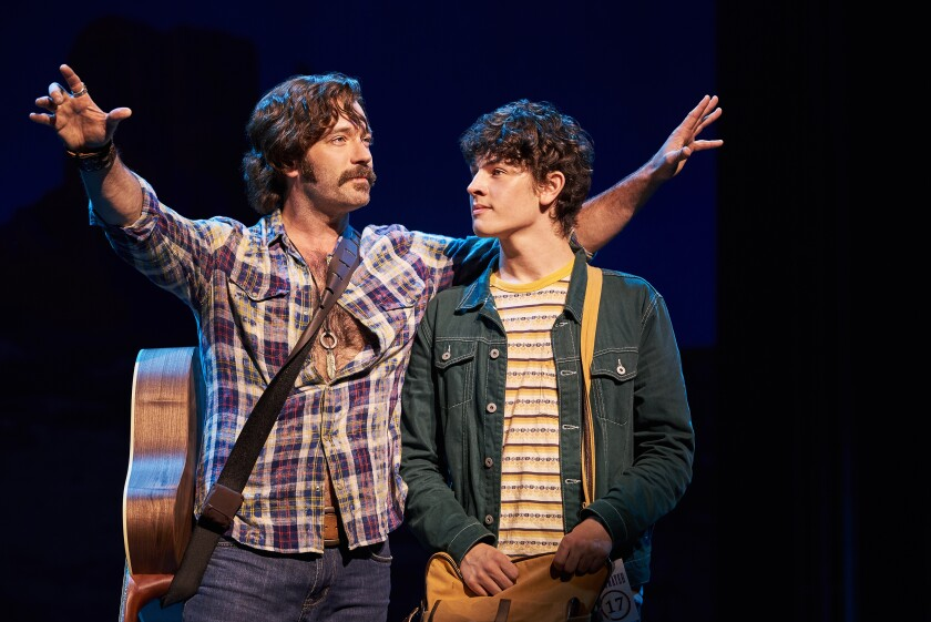 "Colin Donnell (left) as Stillwater guitarist Russell Hammond and Casey Likes as journalist William Miller in the Old Globe Theatre's world-premiere production of ""Almost Famous."""