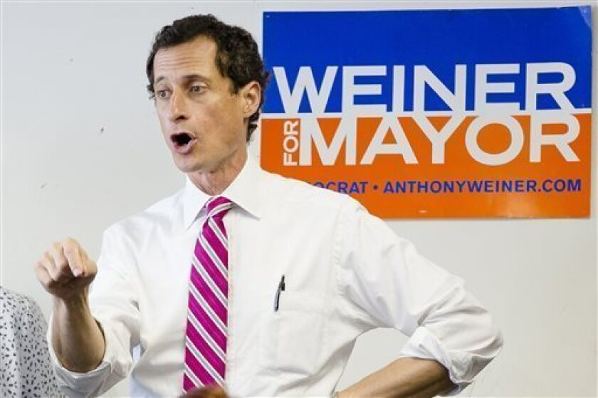 New York City mayoral candidate Anthony Weiner has been slipping against his Democratic rivals in opinion polling since the latest revelations about his online sexting.