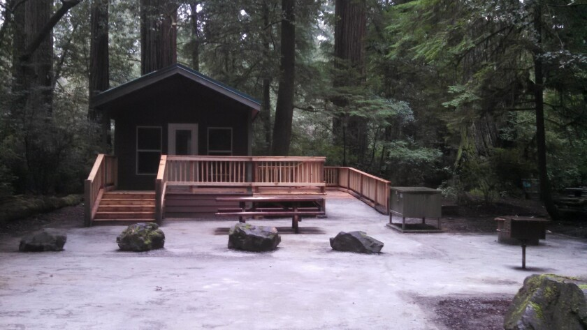One of the new cabins added to camping options at Jedediah Smith Redwoods State Park near Crescent City, Calif.