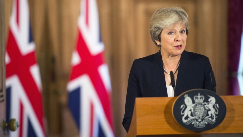 British Prime Minister Theresa May makes a statement on Brexit negotiations with the European Union,
