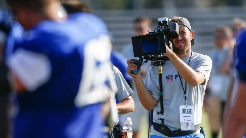 IRVINE, CA., AUGUST 1, 2016: Hard Knocks camera crews document every move at the LA Rams training ca