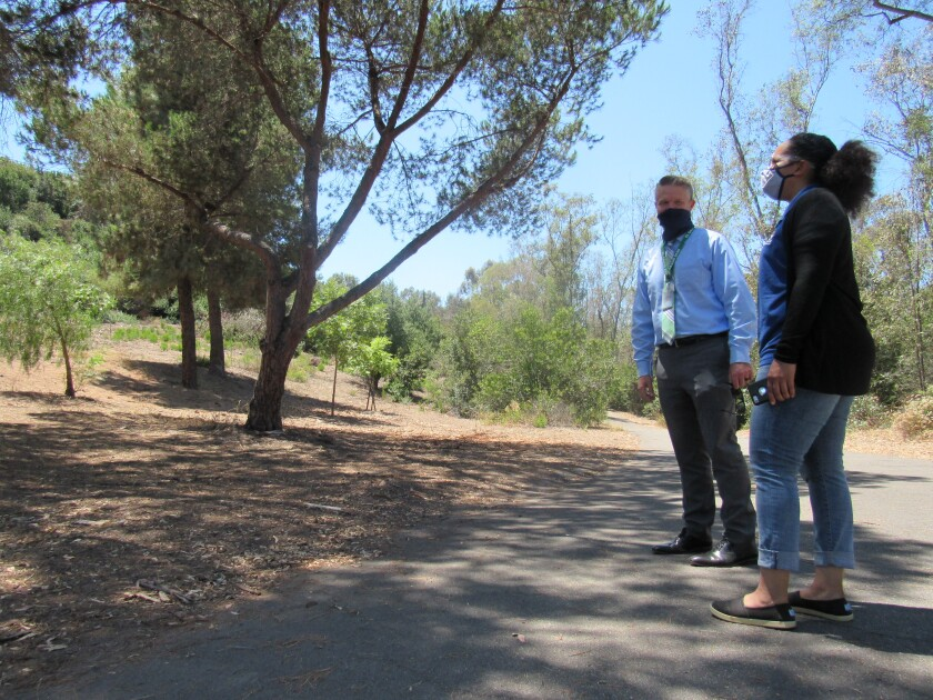 El Cajon Director of Park & Recreation Frank Carson and Recreation Services Manager Shannon Bullock at Hillside Park.