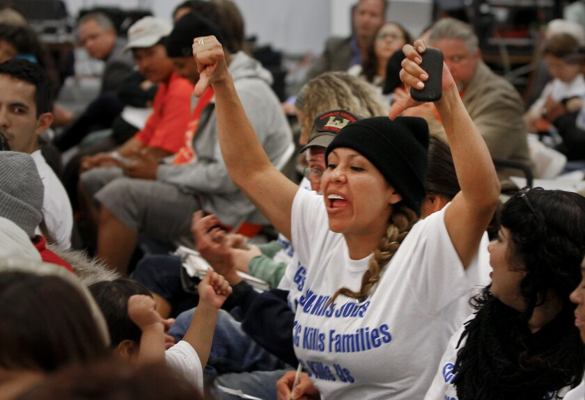 Emotions ran high in March 2013 during a public hearing for a $500-million rail yard planned near low-income, mostly minority neighborhoods in west Long Beach.