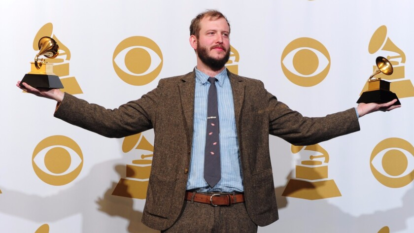 Justin Vernon of Bon Iver posing at the 54th Grammy Awards in 2012.
