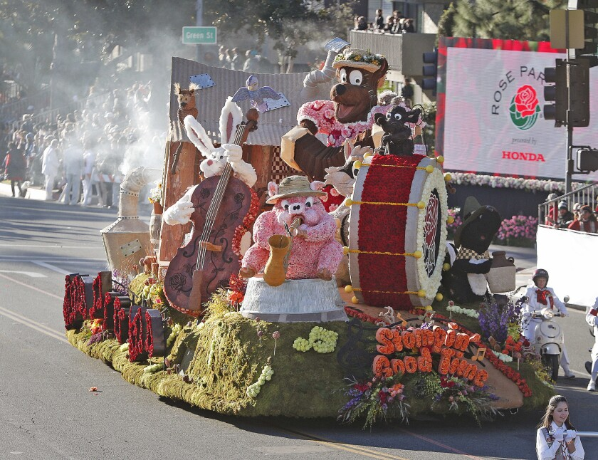 """The City of Burbank float, built by the Burbank Tournament of Roses Association entitled """"Stompin' G"""