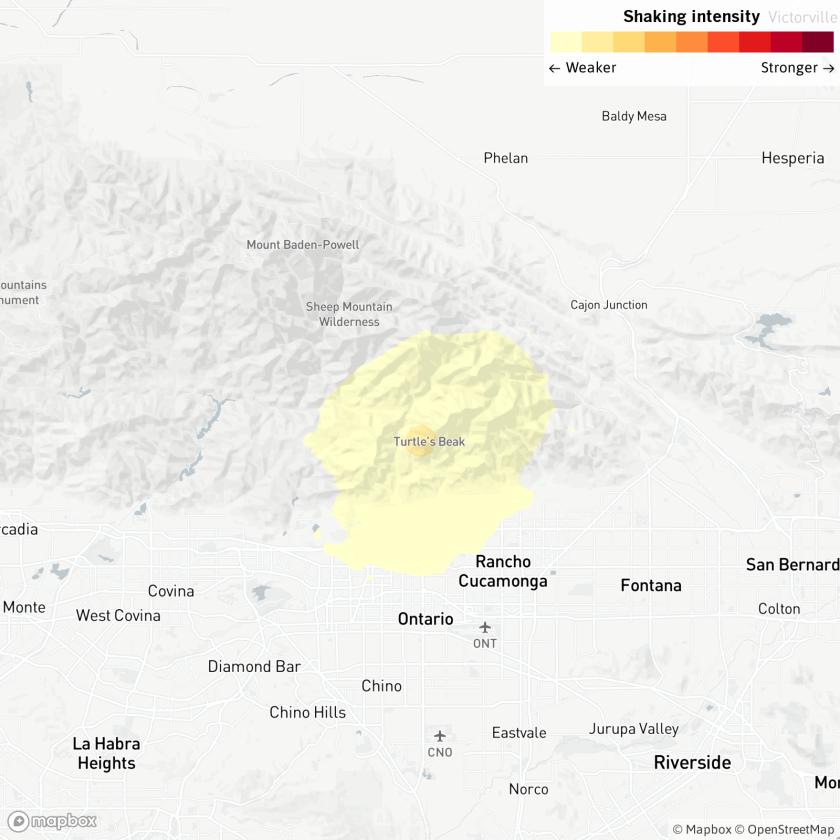Map of magnitude 3.2 earthquake near Rancho Cucamonga.