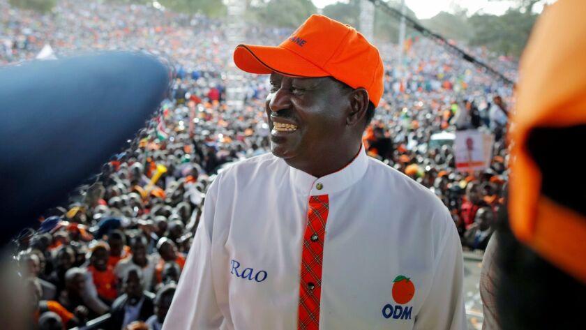 Opposition presidential candidate Raila Odinga, leader of Kenya's National Super Alliance coalition,