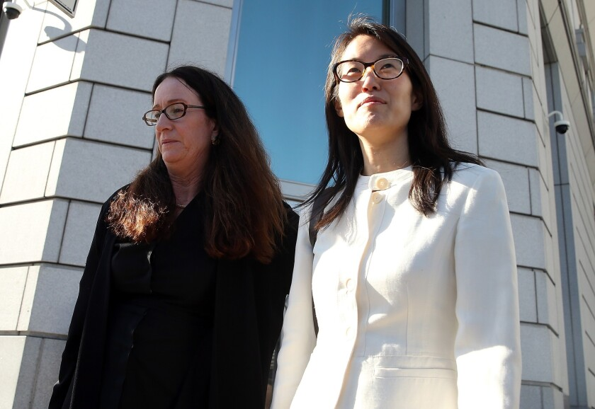 Ellen Pao, right, leaves the San Francisco Superior Court with her attorney Therese Lawless on March 27 after a jury ruled against Pao. Her case has highlighted gender issues in the tech industry.