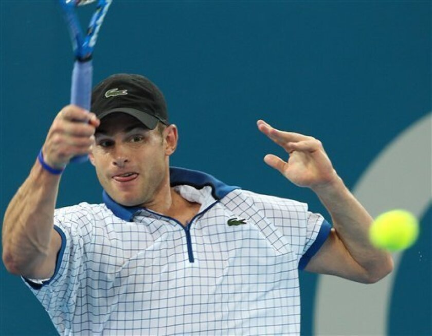 Andy Roddick of the U.S. in action against Kevin Anderson of South Africa in the men's semifinal match during the Brisbane International tennis tournament in Brisbane, Australia, Saturday, January 8, 2011. (AP Photo/Tertius Pickard)