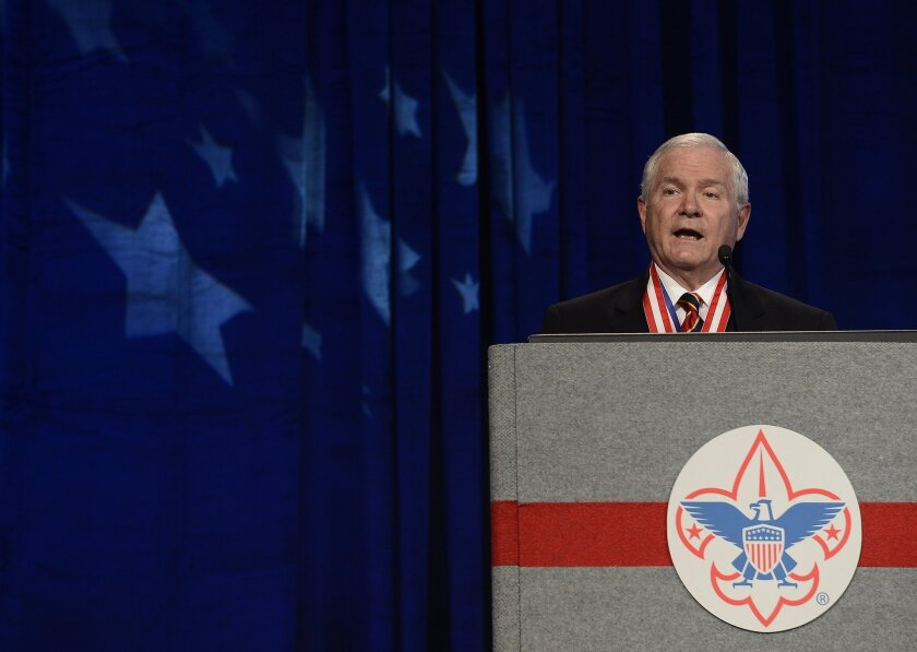 Former Defense Secretary Robert Gates addresses the Boy Scouts of America's annual meeting in Nashville in 2014, after being selected as the organization's new president. Gates said Thursday that the Scouts' ban on participation by openly gay adults was no longer sustainable.
