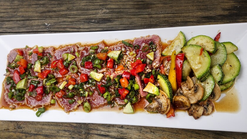 The seared ahi tuna from Otto's Grill epitomizes Baja-Med flavor.