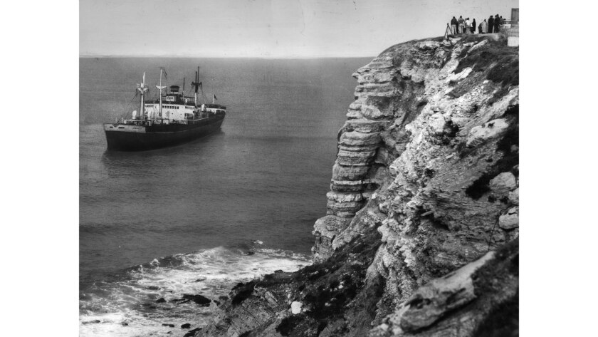 March 14, 1961: The Greek frieghter Dominator sits grounded off Rocky Point section of Palos Verdes