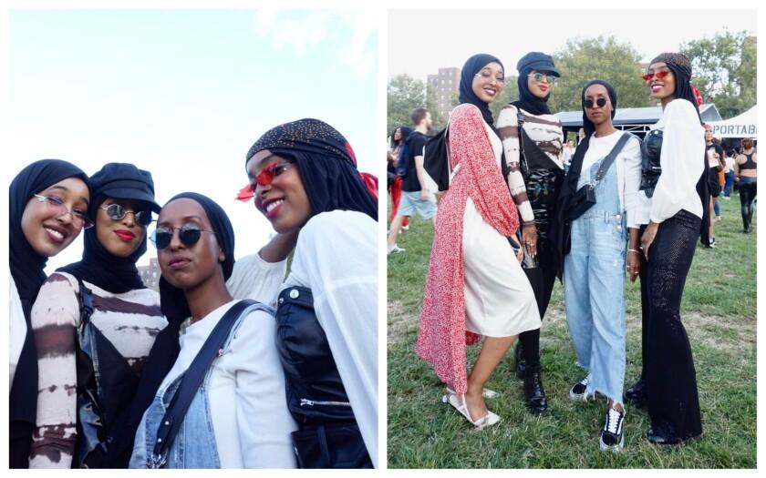 From left to right, Rahma Ali, Koran Ali, Kawser Mohamed and Laila Farah at Afropunk in Brooklyn, N.Y.