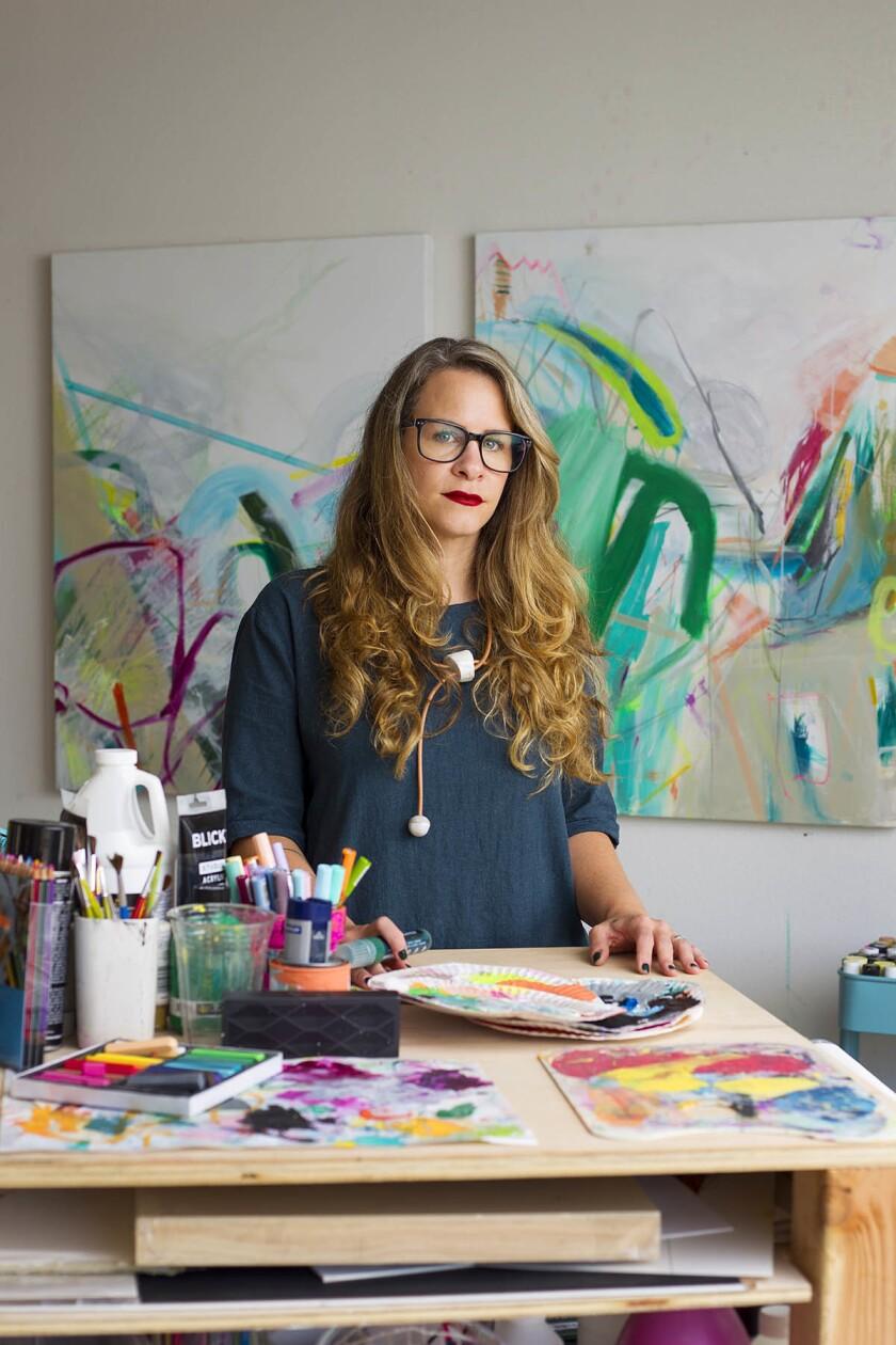 Artist Jaime Derringer and founder and executive editor of online design magazine, Design Milk (design-milk.com). (K.C. Alfred/Union-Tribune)