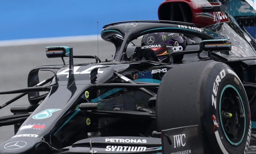 Mercedes driver Lewis Hamilton of Britain steers his car during the first practice session at the Red Bull Ring racetrack in Spielberg, Austria, Friday, July 3, 2020. The Austrian Formula One Grand Prix will be held on Sunday. (AP Photo/Darko Bandic)