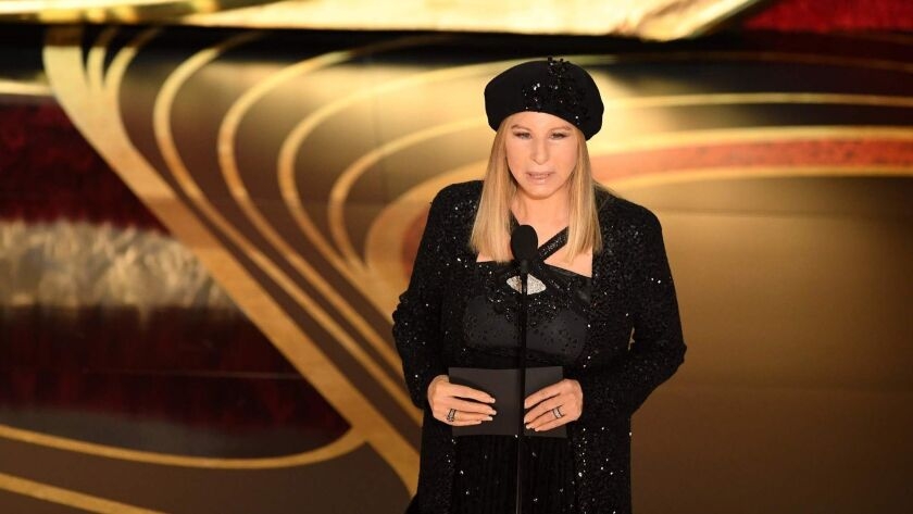 Barbra Streisand presents an award during the 91st Academy Awards at the Dolby Theatre in Hollywood on Feb. 24.