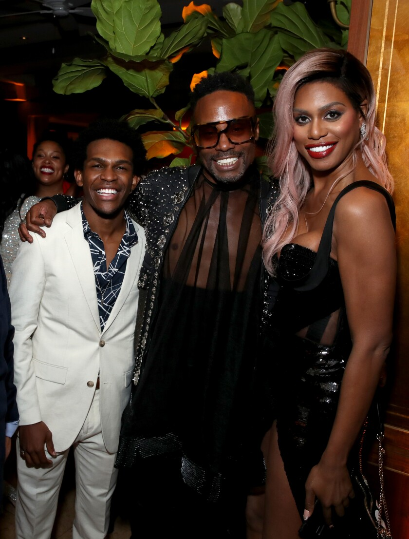 Camrus Johnson, from left, Billy Porter and Laverne Cox at the 2019 pre-Emmys party at Sunset Tower Hotel in West Hollywood.