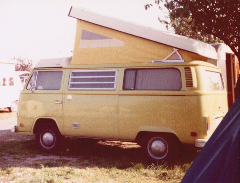 """The Hocketts toured Europe in 1975 in a yellow Volkswagen camper van they had dubbed """"the Banana."""""""