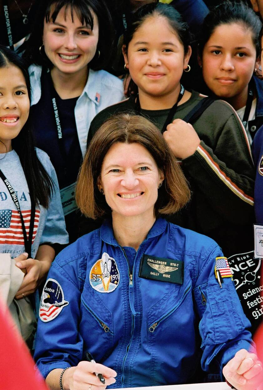 Sally Ride (front) was the first American woman in space and is the namesake of Sally Ride Science. She died in 2012.