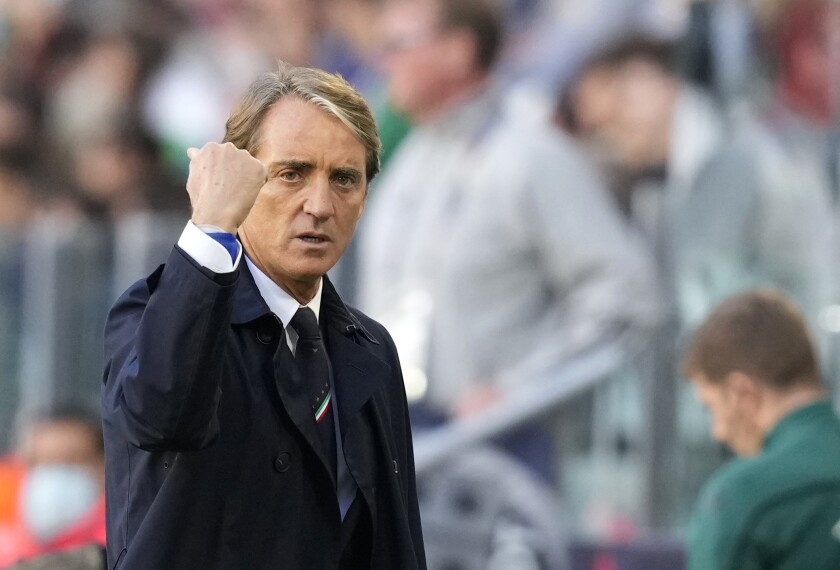 Italy's manager Roberto Mancini reacts during the UEFA Nations League third place soccer match between Italy and Belgium at the Juventus stadium, in Turin, Italy, Sunday, Oct. 10, 2021. (AP Photo/Antonio Calanni)