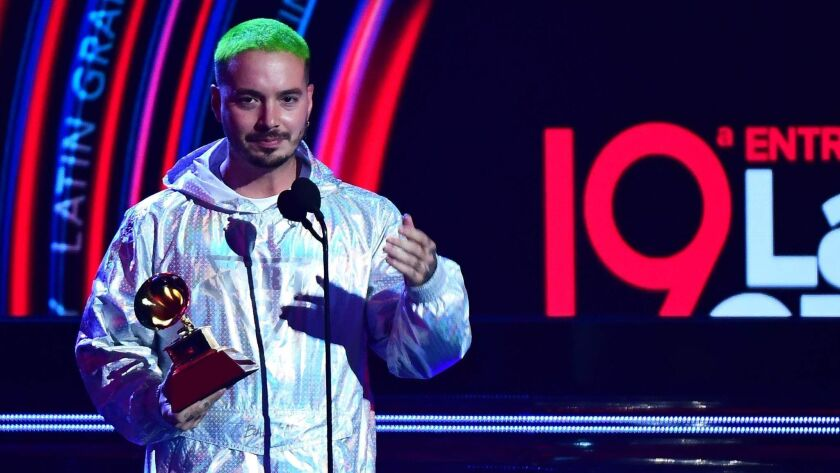 Reggaeton star J Balvin, accepting his sole Latin Grammy on Thursday night. He came into the 19th Latin Grammy Awards with the most nominations—eight—including record and album of the year, but won just one for urban music album.