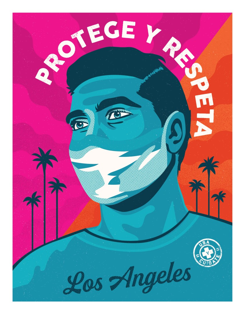 Mayor Garcetti revealed this poster, designed by Camilla Lonis of Shepard Fairey's Studio Number One, on Wednesday.