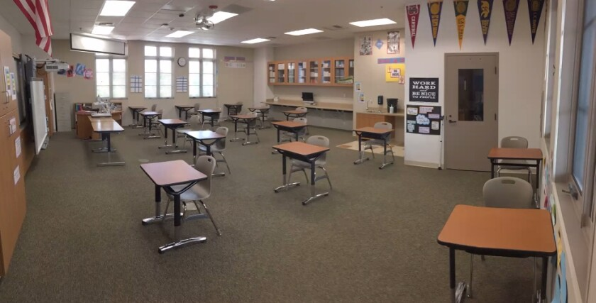 A R. Roger Rowe middle school classroom with distancing in place.