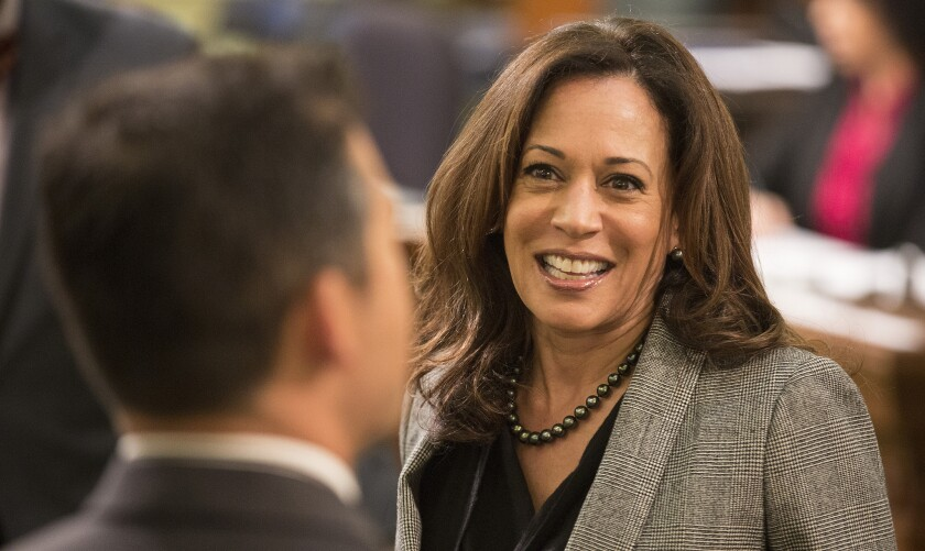 Senate candidate Kamala D. Harris and her Democratic opponent, Rep. Loretta Sanchez, have stayed away from the sharp populist rhetoric of the party's presidential candidates.