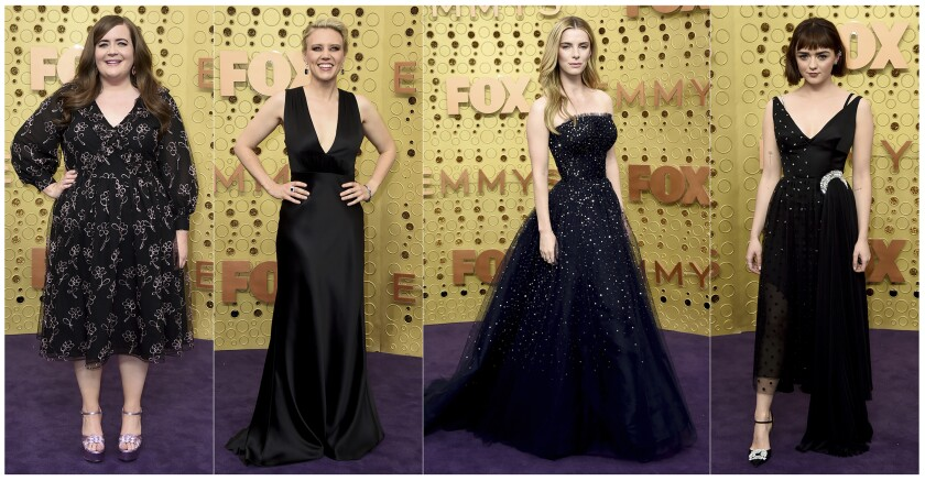 """This combination photo shows, from left, Aidy Bryant, from """"Saturday Night Live,"""" Kate McKinnon, from """"Saturday Night Live, Betty Gilpin, from """"GLOW,"""" and Maisie Williams, from """"Game of Thrones,"""" at the 71st Primetime Emmy Awards in Los Angeles on Sept. 22, 2019. (AP Photo)"""