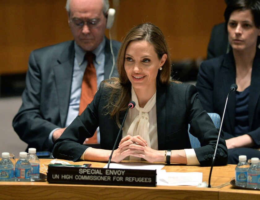 Anglina Jolie speaks before a United Nations Security Council meeting on women, peace, security and sexual violence in conflict at UN headquarters in New York.
