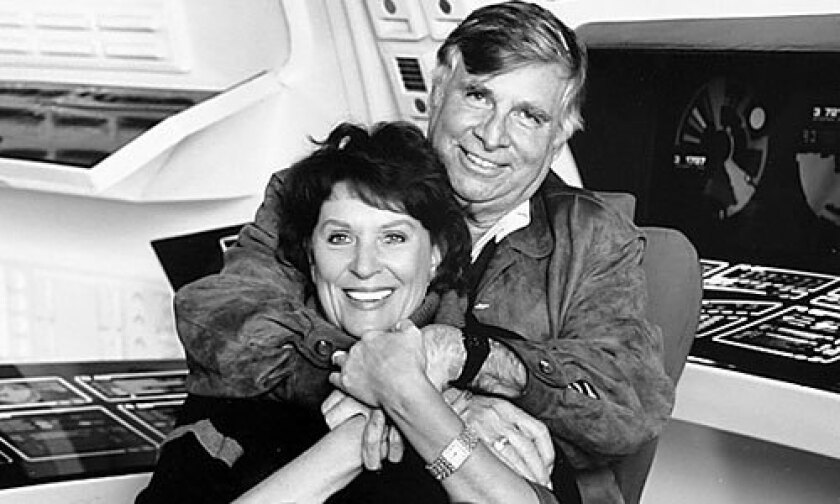 "Majel Barrett Roddenberry poses with her husband, Gene Roddenberry. The actress, who played Nurse Chapel on ""Star Trek: The Original Series,"" died Thursday in Bel-Air."