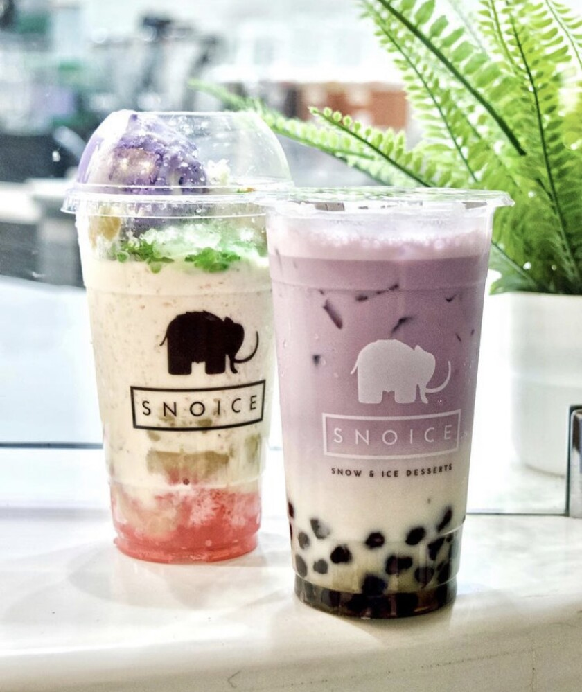 Halo-halo and tarchata with boba dessert drinks at Snoice.
