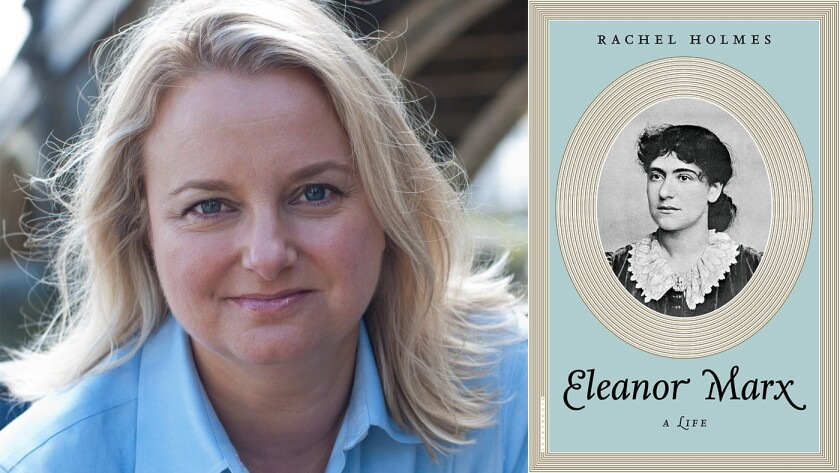 """Author Rachel Holmes and the cover of the book """"Eleanor Marx"""""""