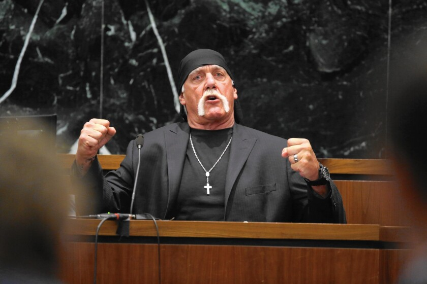 Hulk Hogan, whose given name is Terry Bollea, testifies in court on March 8, 2016, during his trial against Gawker Media in St. Petersburg, Fla.