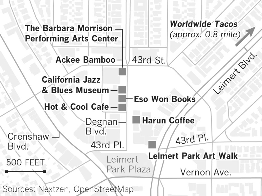 Map of featured places in Leimert Park.