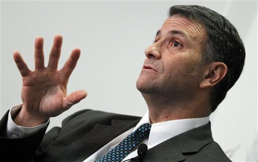 FILE - In this Feb. 6, 2012 file photo, former lobbyist Jack Abramoff speaks in Washington. A former aide to onetime congressional power broker Tom DeLay was sentenced Friday to 5 months in a halfway house in the final act of the probe of the Jack Abramoff influence peddling scandal. (AP Photo/Char