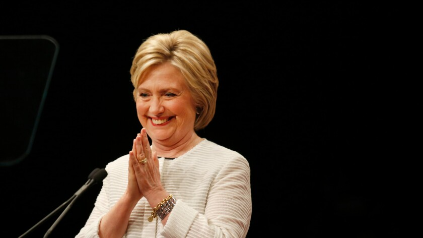 Hillary Clinton thanks her supporters at a rally in Brooklyn, N.Y., on Tuesday night.