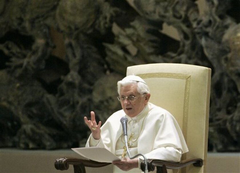 Pope Benedict XVI delivers his speech during his weekly general audience in the Paul VI hall at the Vatican, Wednesday, Jan. 14 , 2009.  (AP Photo/Pier Paolo Cito)