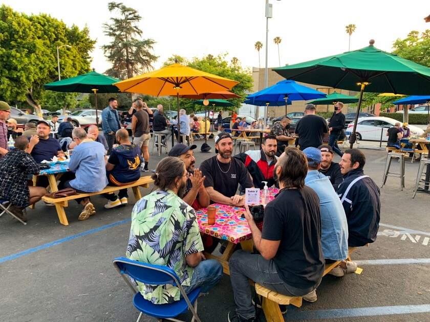 A photo of Akbar's parking lot, which has been turned into a patio.