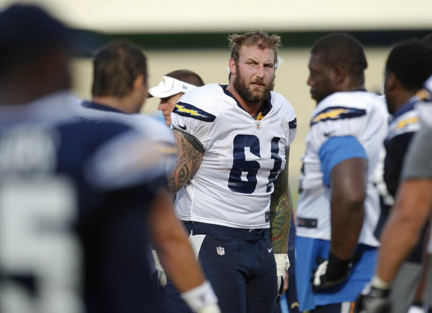 Chargers center Nick Hardwick (concussion) returned to practice Saturday, solidifying a Week 1 starting offensive line that will be without Jared Gaither.