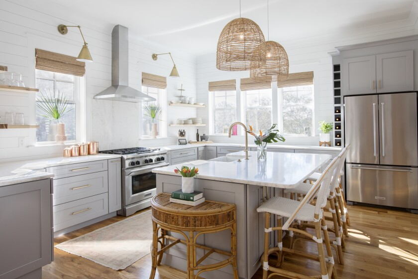 Softly colored kitchens