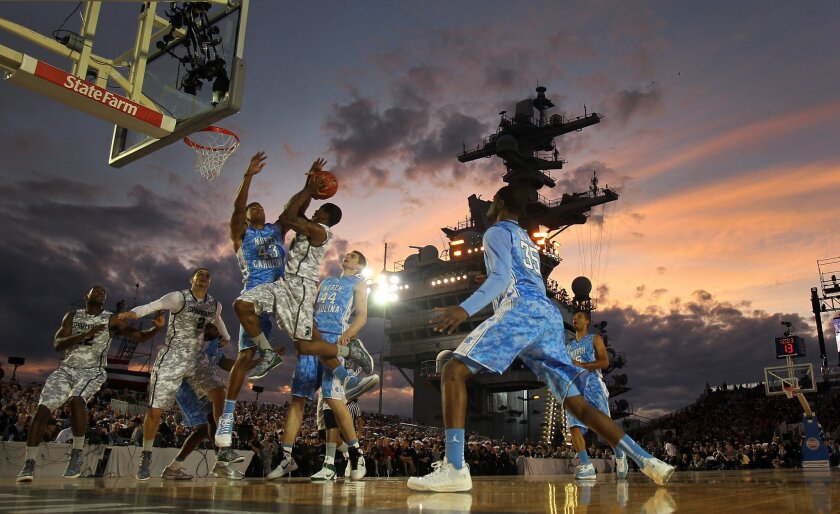 The Carrier Classic NCAA college basketball game between Michigan State and North Carolina aboard the USS Carl Vinson, Friday, Nov. 11, 2011, in Coronado, Calif., drew a national audience.
