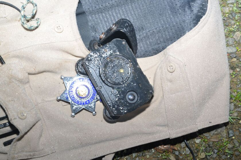 A Santa Clara County deputy's body camera deflected a bullet that was fired at him Friday.
