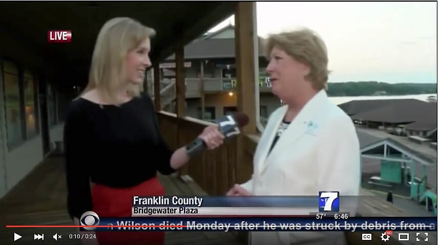 Frame grab of television reporter Alison Parker, left, conducting an interview before she and videographer Adam Ward were shot and killed on Aug. 26, 2015.