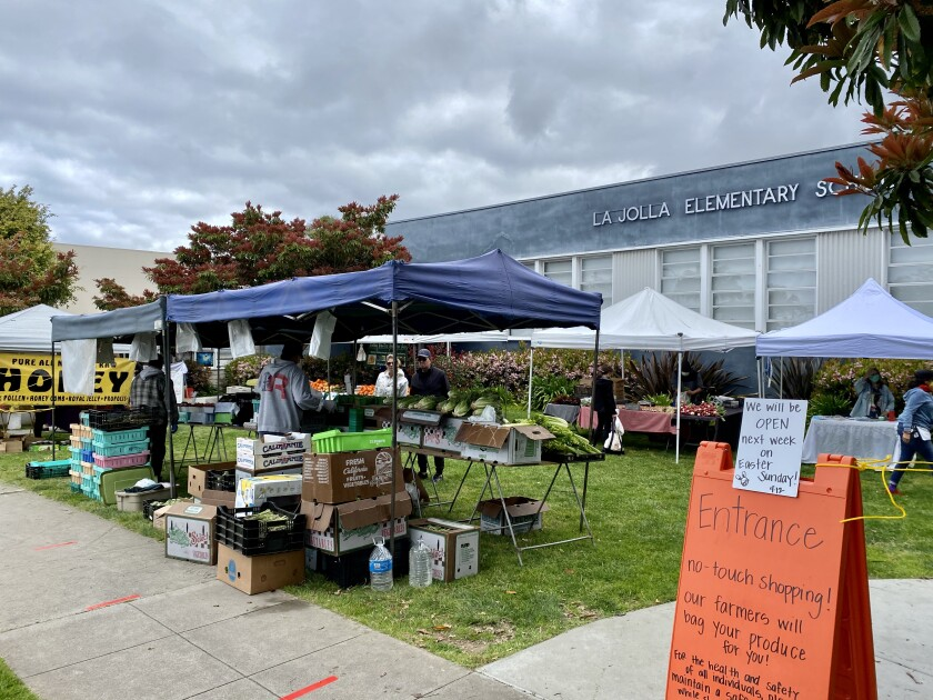 The Open Aire Market is back open along Girard Avenue at Genter Street on the grounds of La Jolla Elementary School.