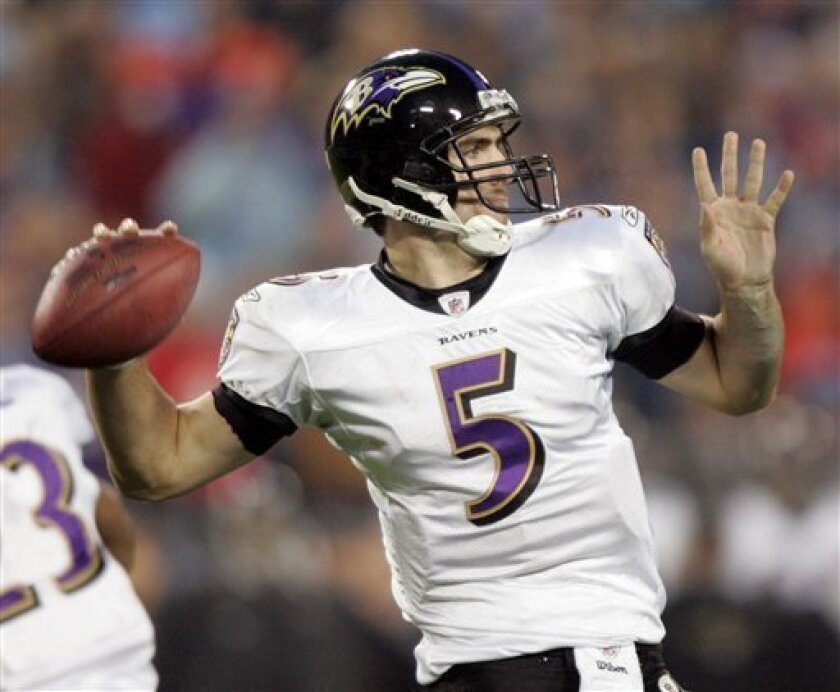 Baltimore Ravens quarterback Joe Flacco (5) passes against the Tennessee Titans during the second quarter of an NFL divisional playoff football game in Nashville, Tenn., Saturday, Jan. 10, 2009. (AP Photo/Wade Payne)